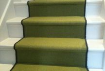 Green Stairs With A Black Border / Client: Private Residence In West London Brief: To supply and install selected wood flooring.