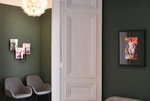 Cabinet Médical * Interior Design / Located close to the Champs Elysées, the medical center is specialized in sexology and psychiatry. A soft environement has been created in both rooms. Different shades of green and smooth materials, like wood and modular carpet, create an appeasing environment, suitable to open discussions and sharing. The furniture, seats and cushions, like cocoons, reinforces the reassuring idea of the meeting with the doctor.