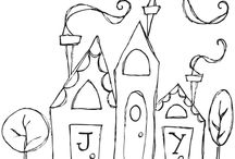 Hand drawn houses