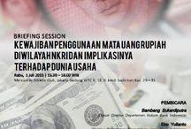 Briefing Session PBI 17/3/2015 / Pada tanggal 31 Maret 2015 lalu, Bank Indonesia menerbitkan  Peraturan Bank Indonesia Nomor 17/3/PBI/2015 tentang Kewajiban Penggunaan Rupiah di Wilayah Negara Kesatuan Republik Indonesia(PBI 17/3/2015). PBI 17/3/2015 diterbitkan bertujuan untuk mewujudkan kedaulatan Rupiah di wilayah NKRI dan untuk mendukung tercapainya kestabilan nilai tukar Rupiah.  ikuti training kami dengan mengunjungi web site kami www.lexmundus.com atau telp +62-21-782-3548