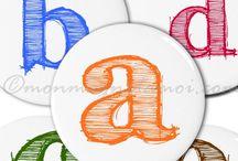 A,B,C,D.... etc / Magnets alphabet