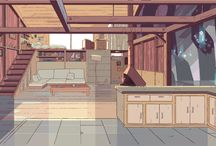 Setting Design / A collection of kickass backgrounds to remind me not to skimp on my settings when I draw.