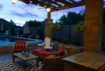 San Antonio custom pool in Vinyard / Custom pool and outdoor living area north of San Antonio. This project includes a custom pool and patio with fireplace, pergola, seating walls and outdoor kitchen.