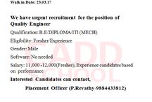 walkin interview.  interesting candidate apply for this job.