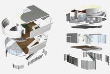 Nagymarosi családi ház / Domboldali beépítés, még a kezdeti egyetemista éveimben. Jellemzően a kilátásra összpontosítottam. Egy központi lakótérben, valamint egy elegánsabb emeleti háló kialakításban láttam fantáziát gyerek nélküli pároknak vagy legénylakásnak.