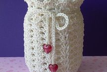 Crocheted jar cosies
