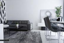 Białoszary apartament Warszawa projekt wnętrz // White grey Warsaw interior design / Monochromatyczne wnętrza