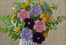 Вязаные цветы и листочки / Крючком цветочки и личточки