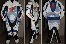 Honda Motorbike Racing Leather suit / Racing Gears / - Available In Customize Size, color, Label, etc - Cowhide High Quality Leather (1.3 mm); - CE approved Amour - Triple stitching (2 external, 1 internal); - For Order And Details Please Inbox or Email: export@desirestrade.com
