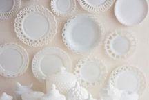 Milk glass / Plates etc