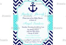 Nautical Anchor Turquoise and Navy Baby Shower / This collection features a navy blue anchor with a heart. The background consists of navy blue chevrons and a turquoise blue polka dot ribbon.