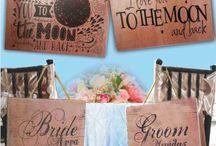 Ξύλινες Πινακίδες - ταμπέλες για τη δεξίωση του γάμου ή της βάπτισης και την εκκλησία