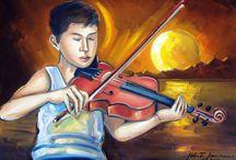 O Pintor e a Música! / Contrabaixista na década de 1970 e nos anos 1980 tecladista, o pintor Gilberto Gomes tem na música, uma grande fonte de inspiração!