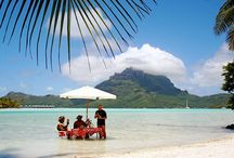 """Bora Bora / It's called the """"Pearl of the Pacific"""", and it's truly the most beautiful place in the world. Bora Bora is a small South Pacific island northwest of Tahiti in French Polynesia."""
