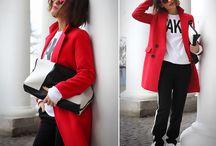 Луки с красным пальто