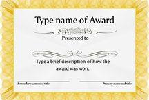 Awards certificates template
