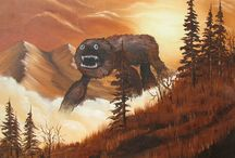 Adding monsters to thrift shop paintings