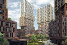 ЖК «Vander Park» (квадрат 20) / Архитекторы: проектное бюро «Апекс»/ ГК ПИК/ пластическое решение - разнообразная нарезка окон, горизонтальное разделение объема на блоки разных цветов