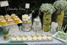 Lemon and lavender dessert table. / Special desserts,candies and cool limoncello and mastic liquor for your guests on the candy bar!