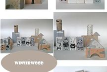 """TOYS woodblocks """"WINTER WOOD"""" / hand painted woodblocks 22 pieces"""