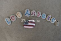 United States of America - souvenir on stones / USA city names on carved and colored stones