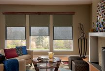 Solar Shades / Solar shades: Also known as screen shades or sun shades, these roller style shades are perfect for windows where you want to cut the glare and heat of the sun but still want to be able to see out during the day.  http://www.windowinspirations.ca/