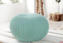 Knit, pufy, pouf, dziergane, plecione, crochet / Produkty wykonane na drutach, szydełkiem, plecione. Pufy, ławeczki, siedziska, dywany, koce, narzuty. Zobacz w sklepie: http://www.h-design.pl/pl/searchquery/Knit/1/full/5?url=Knit