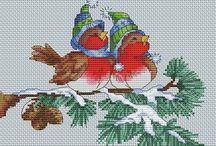JOULU AIHEISET KÄSITYÖT / ristipisto kirjailu ompelu töitä jouluun liittyvää