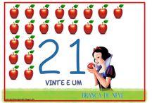 Cartelas com numerais e quantidade temática Branca de neve / Número e numeral com o tema Branca de neve