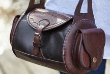 Leather barrel bags
