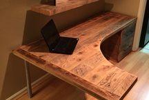 Desks / Wooden desk designs, how to make desks, recycled and reclaimed wood, furniture.