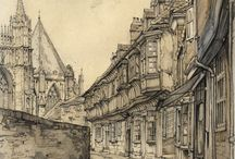 Sketches - Street / Collection of different sketches of streets and houses.