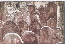 Temetők - Cemetery / Rézkarcaok, festmények különböző temetőkről