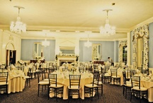 Crystal Room / The formal ballroom that holds up to 125 guests with crystal chandeliers and adjoining garden courtyard.
