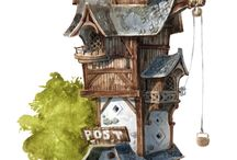 Cartoony enviroment, houses and props / CG Enviroment and Character design