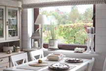 Landhausküche Vorhänge