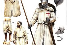Knights Templar / Pictures related to the reenactment of historical Knights Templars, including reenactors portraying Templars, drawings, manuscripts or effigies relating to Templar equipment.