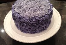 My cakes / Rose swirl cake for my daughter's 5th bday. Three layers of white cake with vanilla buttercream
