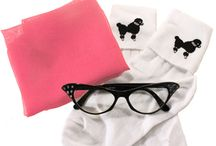 Sock Hop Accessories at Hey Viv ! / Add a scarf, poodle socks, and cat eye glasses to your circle skirt and top and get ready to swing ! We also have bobby sox and scarves in color coordinated sets.