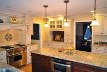 Custom Color Kitchen / Custom painted wood; Our painted cabinets combine the beauty of wood with the clean look of a painted finish