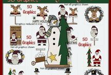 Cute Christmas Graphics Digital Clipart / Create your own crafts and cards with our Christmas graphics. Use for scrapbook projects too. Cute Christmas Graphics Digital Clipart