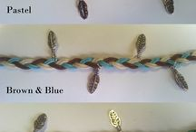 Plaited Charm Bracelets / Each of these bracelets of plaited waxed cotton cord has four silver leaf/feather charms, and these are made in various colour themes.