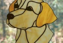 Dogs stained glass