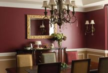 Dining Room / Dining room furniture and furnishings.  Walls: White Accent Colour: Red Woodwork: White Floor: Wood light oak stain  Doors: Same stain as floor Ceiling: White