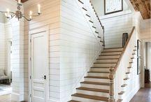 PANELING - basement stairs, entrance closet