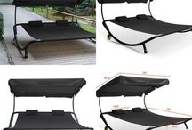 Black Garden Furniture Outdoor Patio Double Lounger Swing Bed Home Relax Hammock