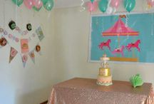 3rd birthday carousel party mint peach & gold theme / carousel horses and mint peach pink & gold. edible gold leaf cake