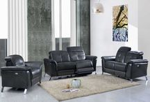 Modern Genuine Leather Dark Grey Sofa Sets