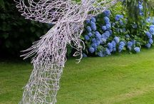 ARTWORK BY ED NETLEY / Some of the amazing galvanised wire artwork by the very talented Edward Netley, a local sculptor. We have been most fortunate to exhibit Ed's work in the Sculpture Gardens here at West Down House. Please contact me (Richard Brookes) should you want further information, wish to arrange a visit to see the artwork or make a purchase.