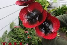 """GARDEN  ART-Wayne Morrison (Artist). / """"JUMBO"""" GIANT TALL POPPIES (Double headed bloom with leaves) ~ HAND CRAFTED KIWI MADE GARDEN FEATURE ART."""